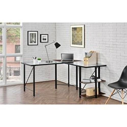 Ameriwood Altra Cruz Glass Top L-Shaped Desk