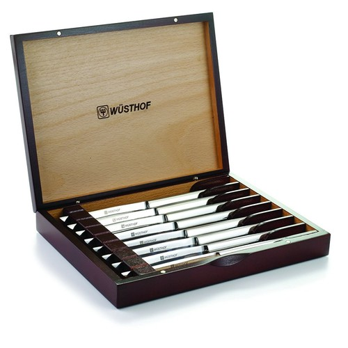 Wusthof 8-Piece Stainless-Steel Steak Knife Set with Wooden Gift Box [8 Knives in Wood Presentation Box]