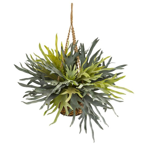 Nearly Natural Staghorn Hanging Basket Artificial Plant