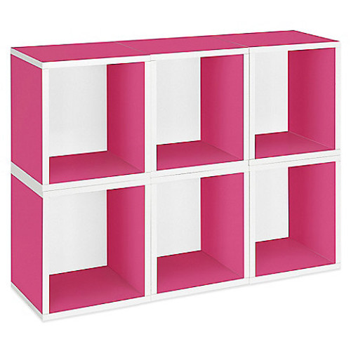 Way Basics Tool-Free Assembly Stackable Tall Storage Cubes and Bookcase in Pink (Set of 6 Cubes)
