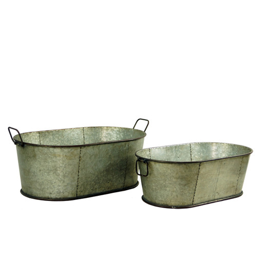 Rustic Galvanized Metal Planters (Set of 2)