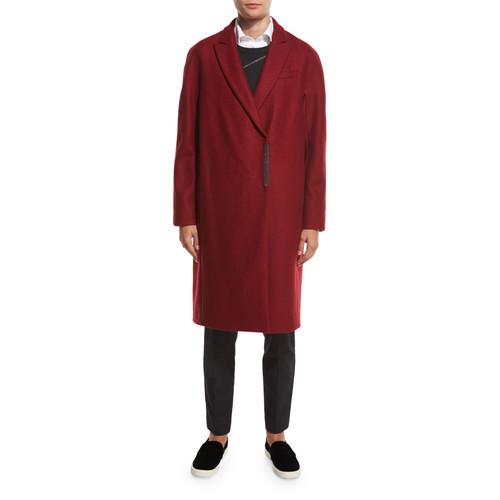 BRUNELLO CUCINELLI Classic Mid-Length Cashmere Coat, Dark Poppy