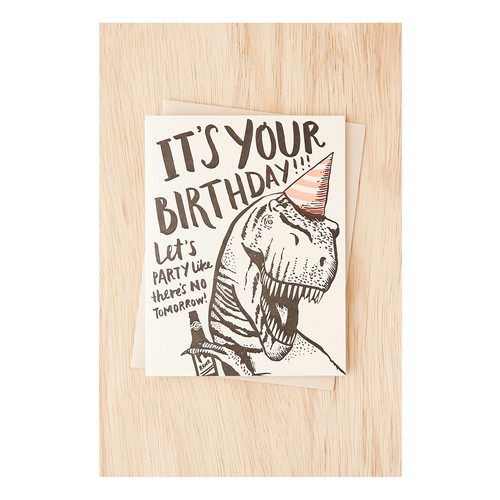 Hello! Lucky No Tomorrow Dino Birthday Card [REGULAR]