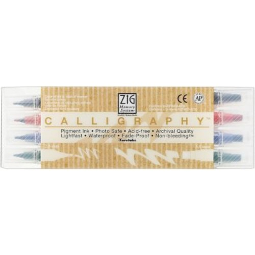 Zig Memory System Calligraphy Dual-Tip Markers, 4/Pack