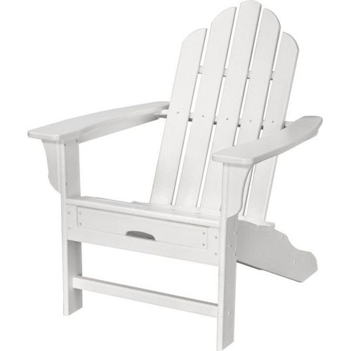 Hanover All-Weather Patio Adirondack Chair with Hide-Away Ottoman in White
