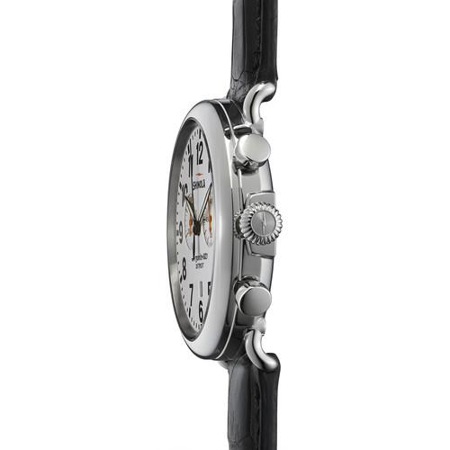 47mm Runwell 2-Eye Chronograph Watch, Brown/White