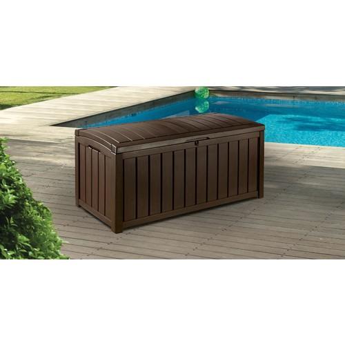 Glenwood Plastic Deck Storage Box Outdoor Patio Furniture 101 Gal, Brown