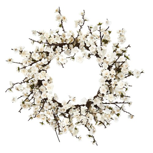 Nearly Natural 24 in. Plum Blossom Wreath