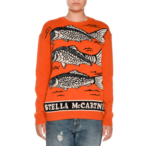 STELLA MCCARTNEY Fish Logo Intarsia Sweater, Orange