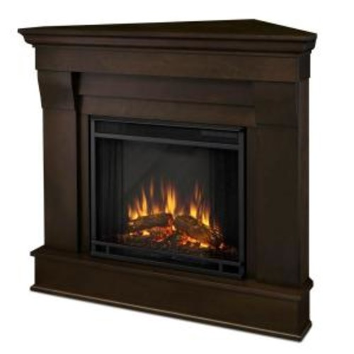 Real Flame Chateau 41 in. Corner Electric Fireplace in Dark Walnut