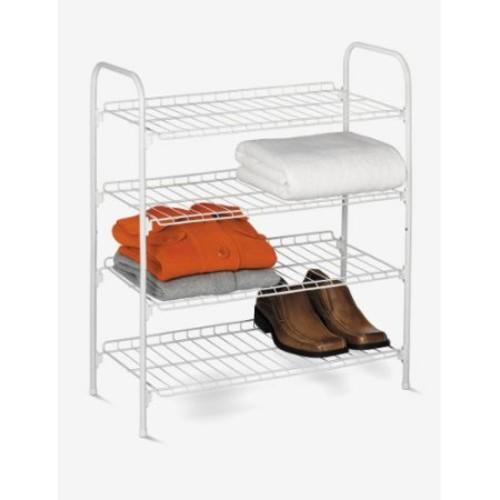 Honey-can-do SHO-01172 4-Tier Closet Storage Shelf, White