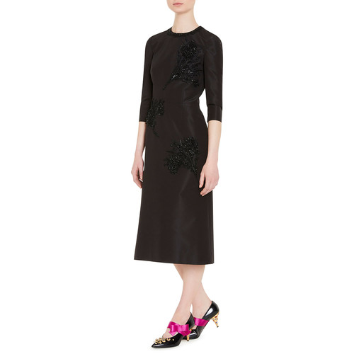 PRADA Embellished Faille Cocktail Dress, Black