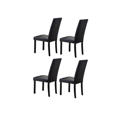 Pilaster Designs - Black Parson Chair With Black Finish Solid Wood Legs, Set of 4 Chairs