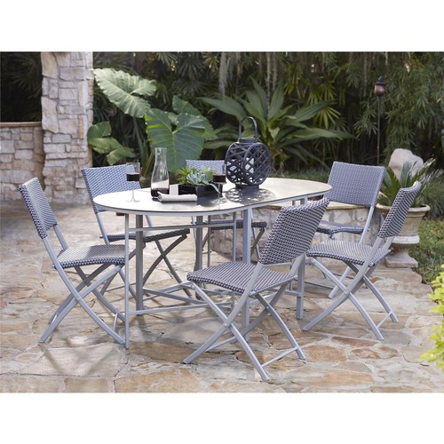 Cosco Delray Transitional 7- Piece Steel Blue & Gray Woven Wicker Compact Folding Patio Dining Set