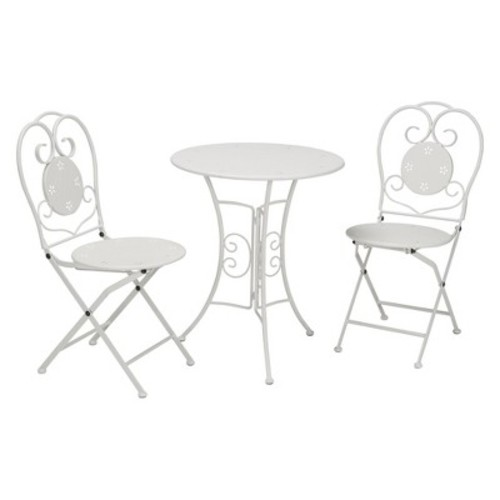 Traditional 3pc Folding Steel Patio Bistro Set - White - Cosco Outdoor Living