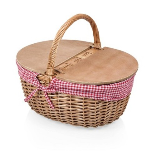 Picnic Time Country Picnic Basket with Red/White Gingham Liner [Red/White Gingham]