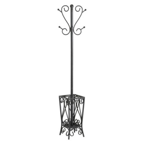 Scrolled Coat Rack and Umbrella Stand Black - Aiden Lane