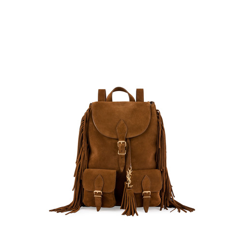 SAINT LAURENT Festival Suede Medium Fringe Backpack, Tan