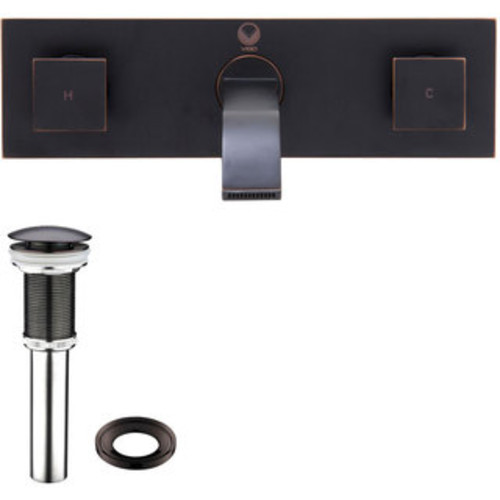 VIGO Golden Greek Glass Vessel Sink and Titus Wall Mount Faucet Set in Antique Rubbed Bronze