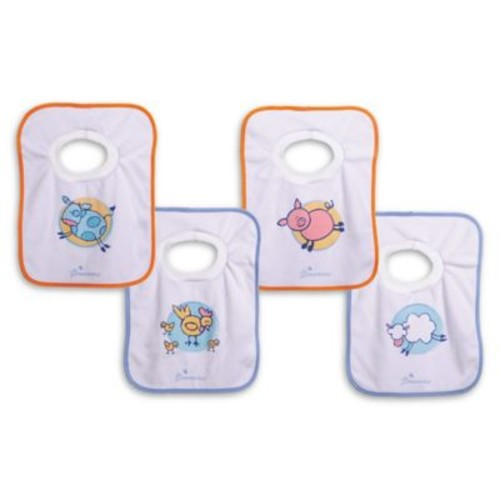Dreambaby 4-Pack Farm Terry Cloth Pull-Over Bibs in White