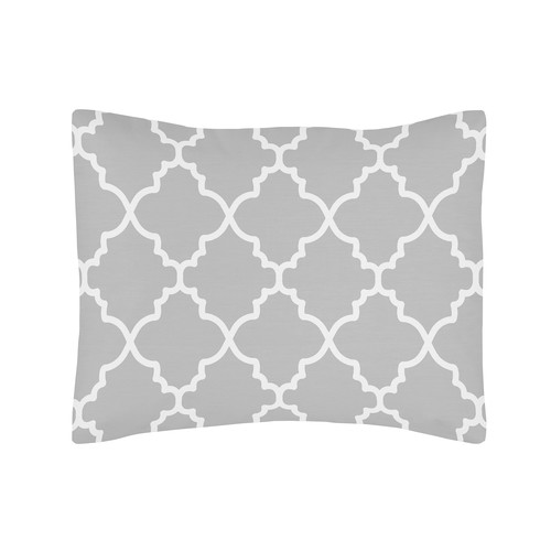 Sweet Jojo Designs Gray and White Trellis Collection Body Pillow Case