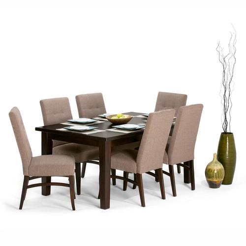 Simpli Home Ezra 7-Piece Fawn Brown Dining Set