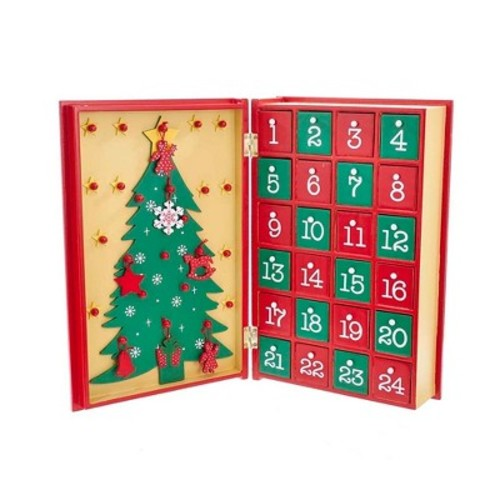 Wooden Christmas Advent Calendar Book