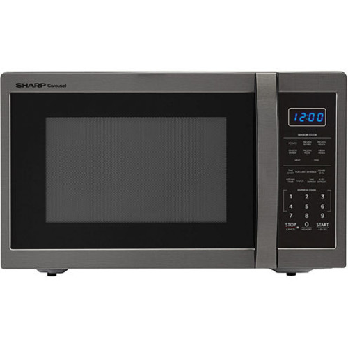 Sharp Carousel 1.4 Cu. Ft. 1100W Countertop Microwave Oven in Black Stainless Steel SMC1452CH