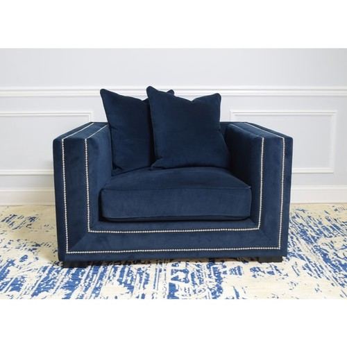 Pasargad Cooper Collection Navy Velvet Armchair