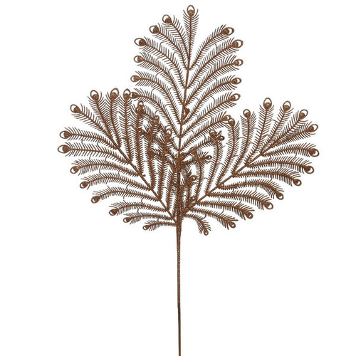 22-inch Copper Glitter Peacock Tail Spray Picks (Pack of 12)