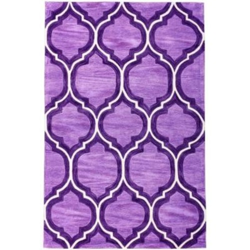Well Woven Expressions Wallaby Lattice Plum Purple 5 ft. x 7 ft. 6 in. Modern Area Rug