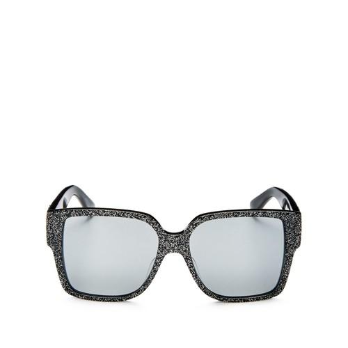 SAINT LAURENT Mirrored Oversized Square Glitter Sunglasses, 55Mm