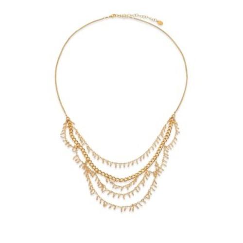 Crystal Charm Draped Multi-Row Necklace