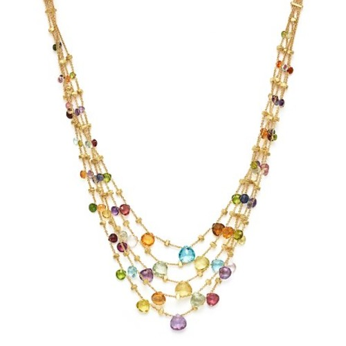 18K Yellow Gold Paradise Five Strand Mixed Stone Necklace, 16.5