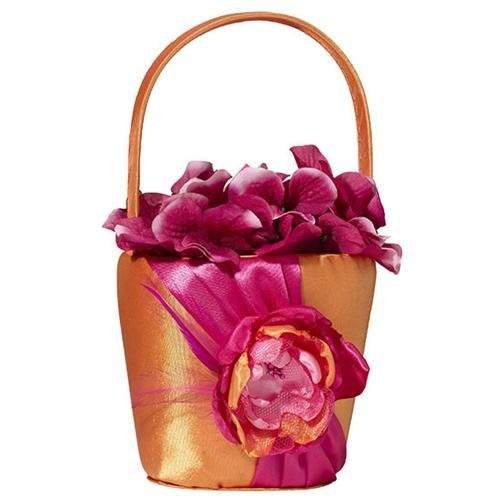 Hot Pink and Orange Flower Girl Basket