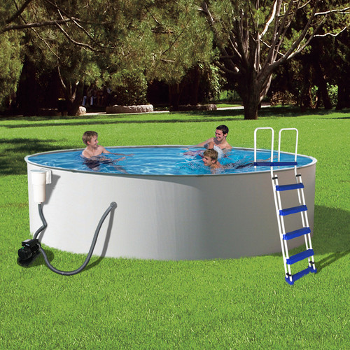Blue Wave Presto 24-ft Round 52-in Deep Metal Wall Swimming Pool Package
