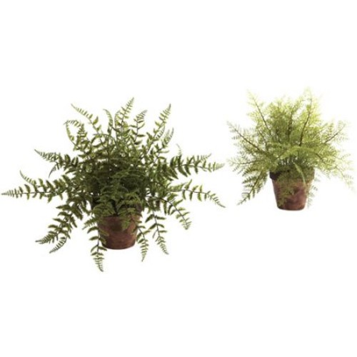 Nearly Natural Fern with Decorative Planter, 2pk