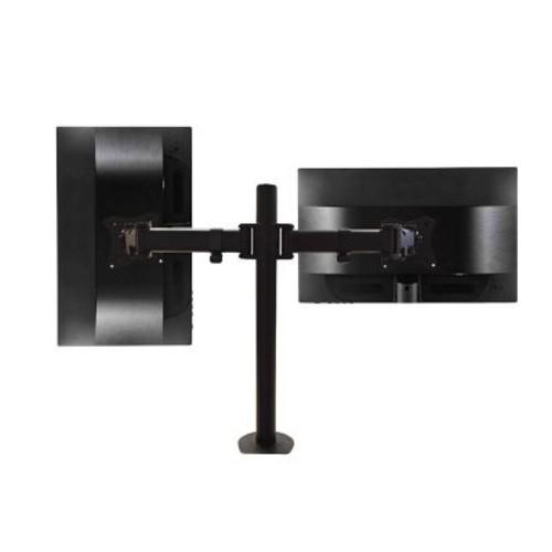 QualGear QG-DM-02-022 13-27 Inch 3-Way Articulating Dual Monitor Desk Mount, Black