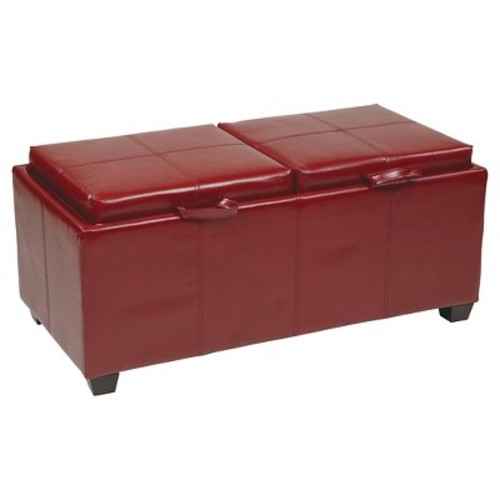 OSP Designs Storage Ottoman with Dual Trays and Seat Cushions - Crimson Red
