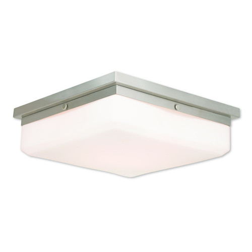 Livex Lighting Allure Brushed Nickel Steel/Frosted Glass 4-light Flush Mount - Brushed nickel