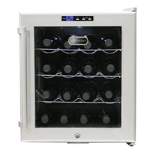 Whynter WC-16S SNO 16 Bottle Wine Cooler, Platinum with Lock [16 Bottle]