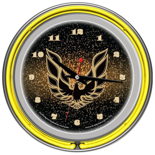 Trademark Global Pontiac Firebird Black Chrome Double Ring Neon Clock
