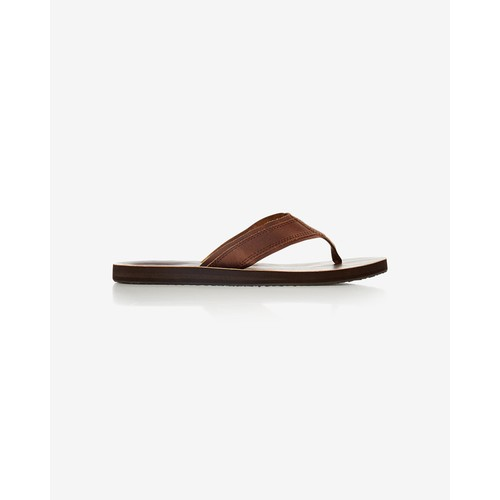 brown leather flip flop