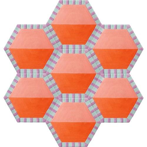 Honeycomb Carpet - Cotton Candy / Tangerine Color Split (7 piece Hexagon)