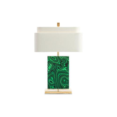 Geo Table Lamp, Emerald/Gold Leaf