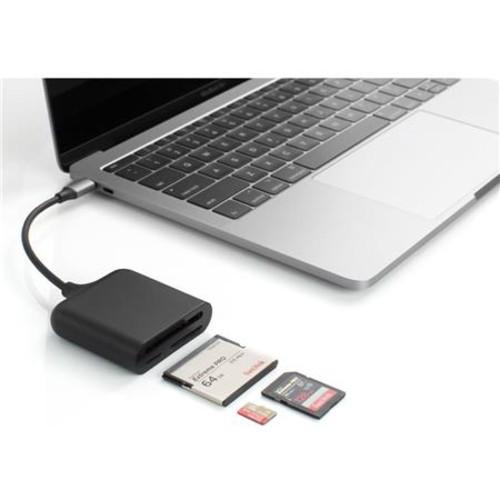 Sanho HyperDrive 3-in-1 USB-C Pro Card Reader/Writer, Black