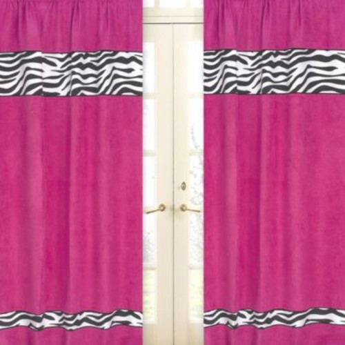 Sweet Jojo Designs Funky Zebra Window Panel Pair in Pink