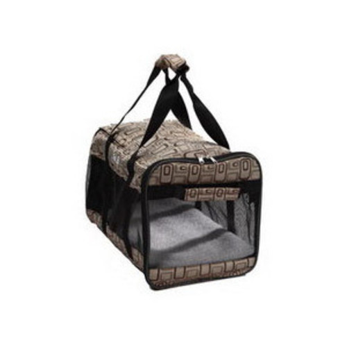Pet Life Airline Approved Flightmax Collapsible Pet Carrier Jacquard Print, Medium