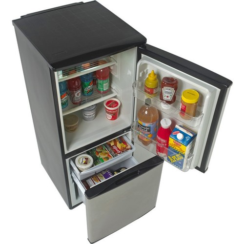 Avanti - 4.5 Cu. Ft. Bottom-Freezer Refrigerator - Black Cabinet with Stainless Steel Finish Doors