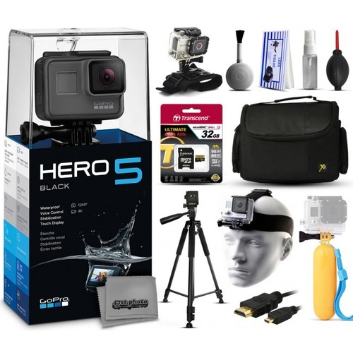 GoPro HERO5 Black + 32GB, Tripod, Case, HDMI, Wrist/Head Strap, Bobber